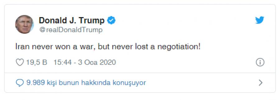İran Devrim Muhafızları Kudüs Gücü Komutanı Kasım Süleymani'ye suikast düzenleyen ABD Başkanı Donald Trump, Tahran'dan yükselen intikam tehditlerine çeşitli anlamlara çekilebilecek tek cümlelik tweetle yanıt verdi. ile ilgili görsel sonucu