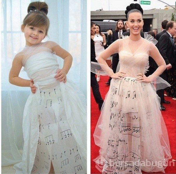 c85949d73a395  Ünlülerin elbiselerinden ilham alarak kızına elbiseler diken yaratıcı anne