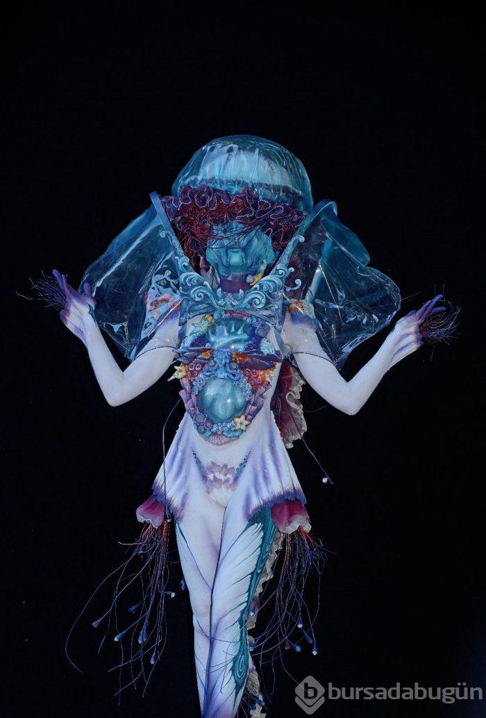 Dünya Vücut Boyama Festivalinden Renkli Kareler Foto