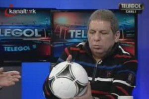Telegol'de canlı yayında top kazası