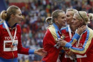 Bayrak yarışında altın madalya Rusların