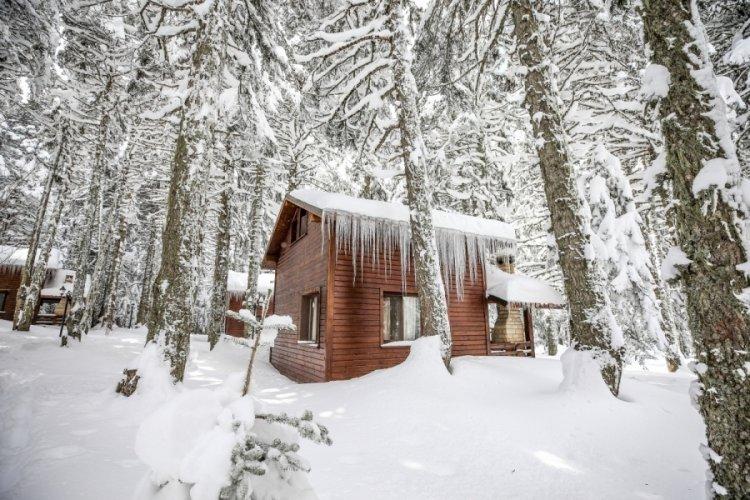 Kayak sezonunun uzadığı Bursa Uludağ'da orman köşkleri yoğun ilgi görüyor