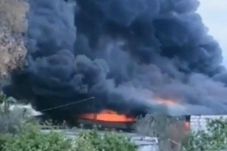Çekirge üretim merkezinde yangın çıktı