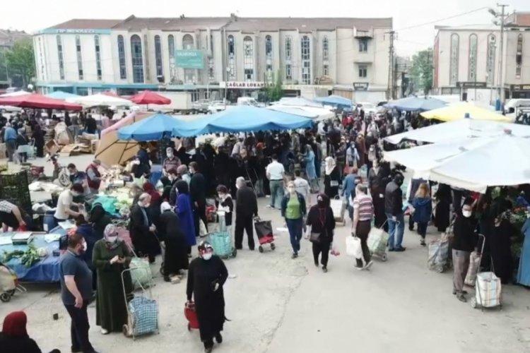 """Bursa'da pazar yerlerindeki hareketlilik görüntülendi! """"Pazara gelebilmek için mecburen yalan söyledim"""""""