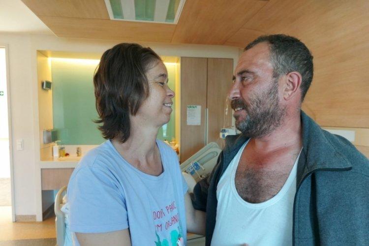 Bursa'da, eşinin böbreğiyle hayata tutundu