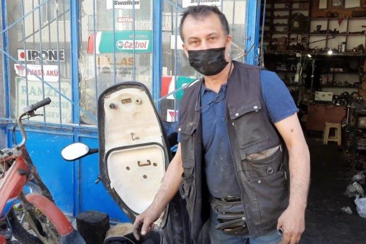 Bursa'da, tamir edilen motosikletten yılan çıktı!