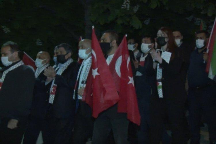 Ankara'da elçilik önünde İsrail protestosu