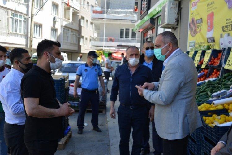 Bursa Gemlik Belediye Başkanı Sertaslan market denetiminde