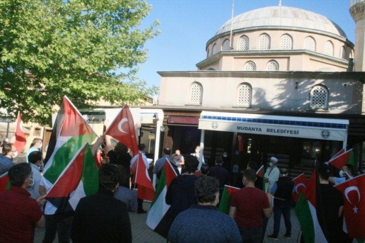 Ölen Filistinliler için Bursa Mudanya'da gıyabi cenaze namazı