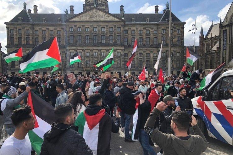 Amsterdam'da Filistin'e destek yürüyüşü