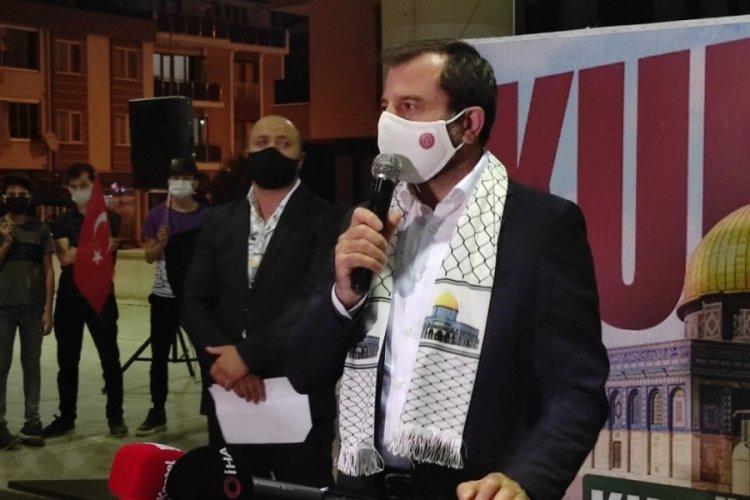 İsrail'in Doğu Kudüs'teki Filistinlilere yönelik saldırıları Bursa Gürsu'da protesto edildi