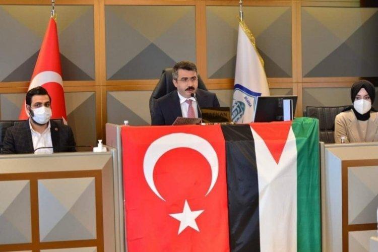 Bursa Yıldırım Belediye Meclisi'nde MHP grubundan İsrail'e tepki