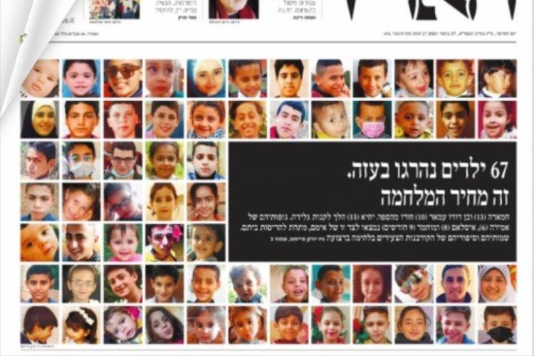 İsrail gazetesi, Gazze'de öldürülen çocukları manşete taşıdı
