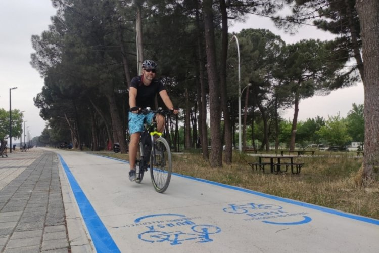 Bursa Orhangazi sahilinde bisiklet yolunun çizimi başladı