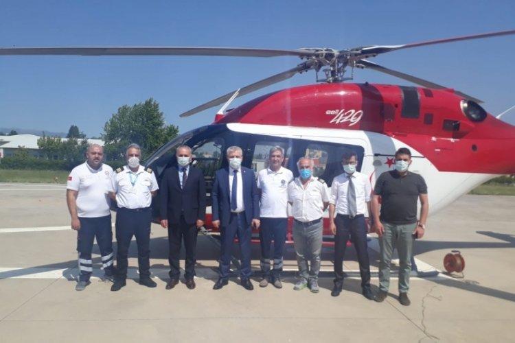 Bursa'da ambulans helikopter acil hastalara hızır gibi yetişiyor