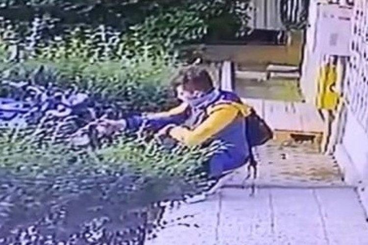Bursa'da çantasındaki baltayla motosikletin zincirini kırmaya çalışan şüpheli, kamerayı görünce kaçtı