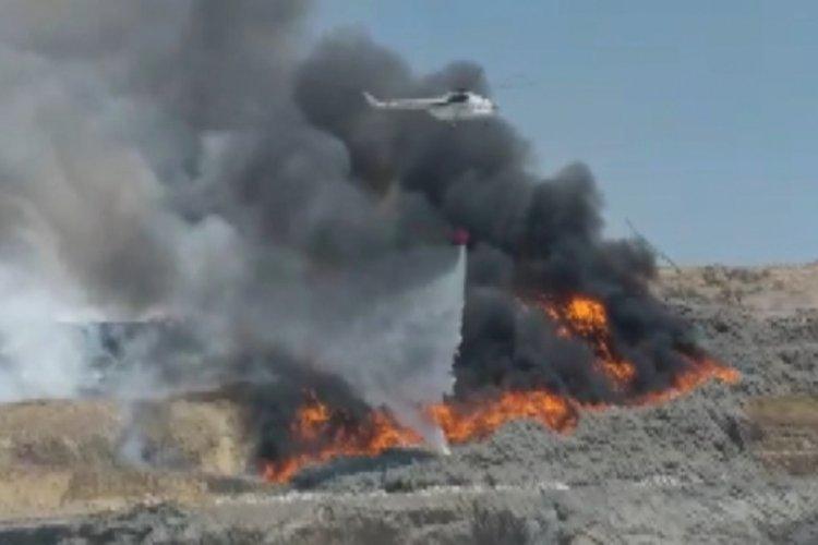 Kahramanmaraş'ta katı atık alanında yangın çıktı