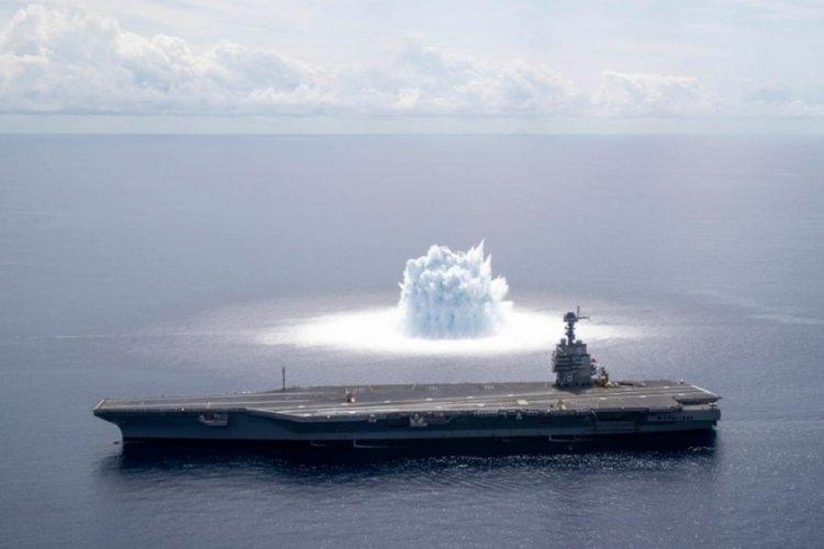 Uçak gemisine şok testi gerçekleştirildi