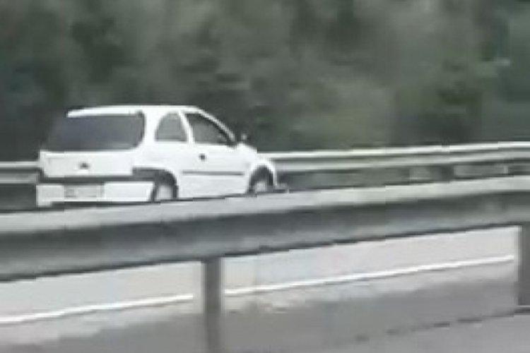Otomobil, TEM Otoyolu'nda ters yönde hızla ilerleyerek tehlike saçtı