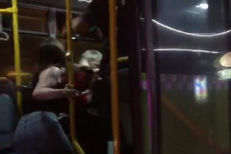 Taciz iddiası belediye otobüsünü birbirine kattı!