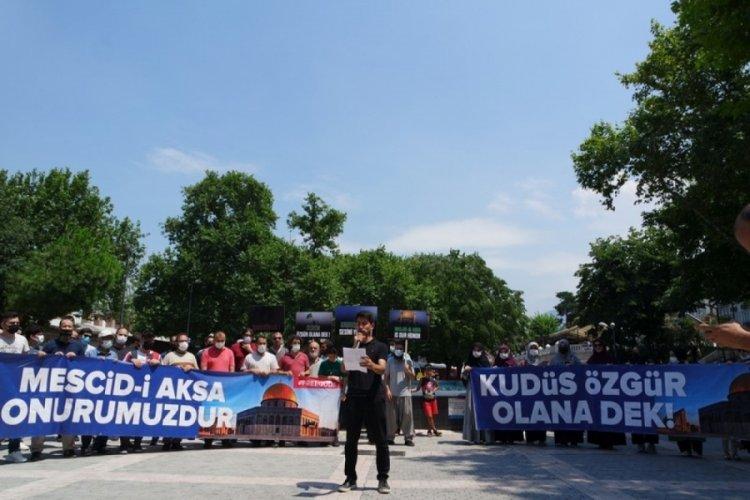 Bursa'da İsrail'in Mescid-i Aksa'daki politikaları protesto edildi