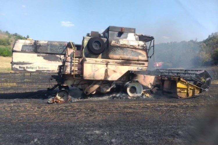 Bursa Yenişehir'de alev alan biçerdöver ormanı yakıyordu