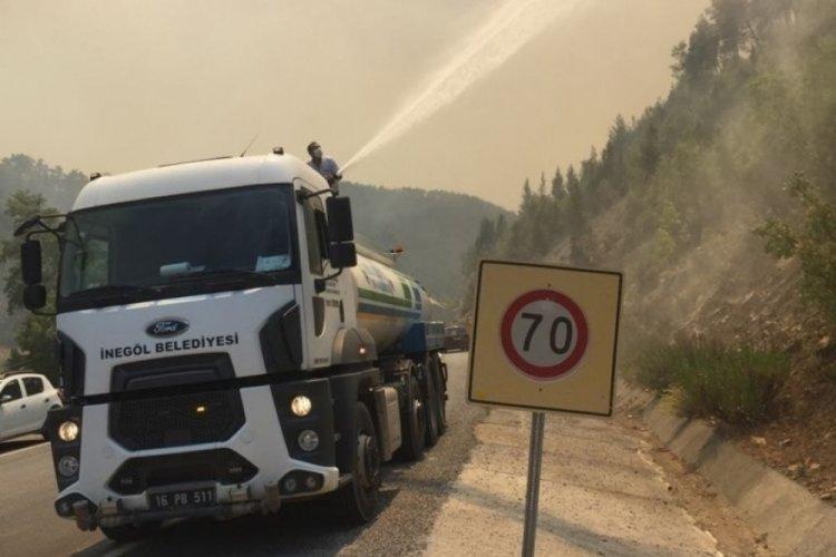 Bursa İnegöl ekibi yangın bölgesine desteğini sürdürüyor