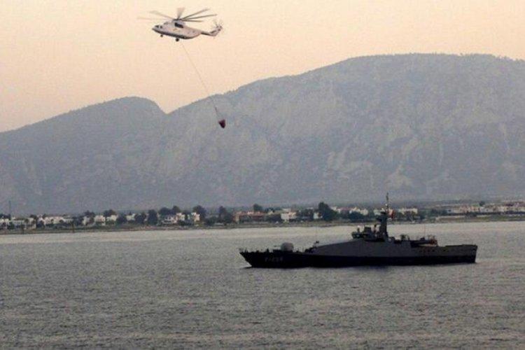 Yangın bölgesine, Deniz Kuvvet Komutanlığı'na ait Karakol Botu ve bir Çıkarma Gemisi sevk edildi!