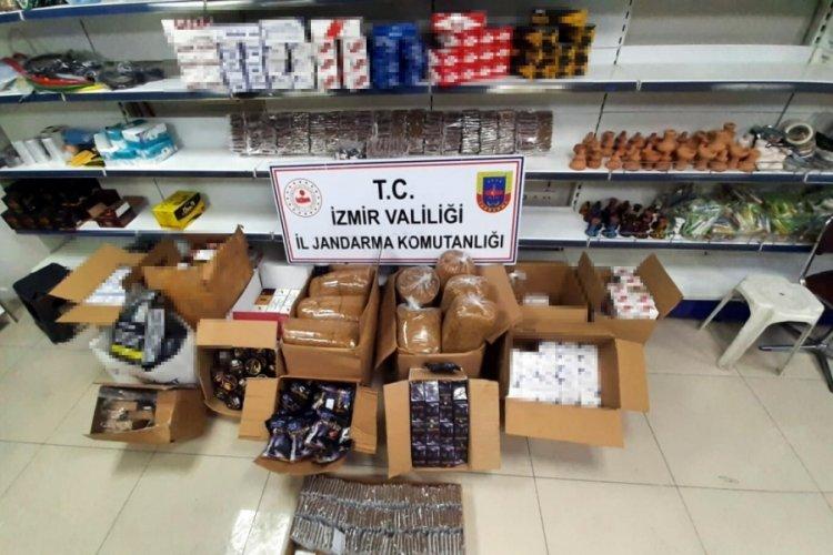İzmir Torbalı'da kaçak sigara ve tütün satan iş yerine baskın!