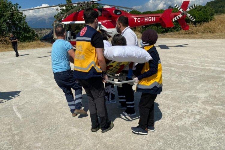 Bursa'da helikopter ambulans Keles'teki hasta için havalandı