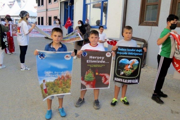 Bursa'da sporcu çocuklardan çevre temizliği