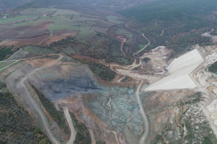 Bursa Karacabey'deki Yeşildere Barajı'nın yapım çalışması devam ediyor