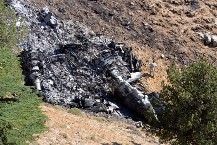 Kahramanmaraş'ta düşen uçağının enkazı gömüldü