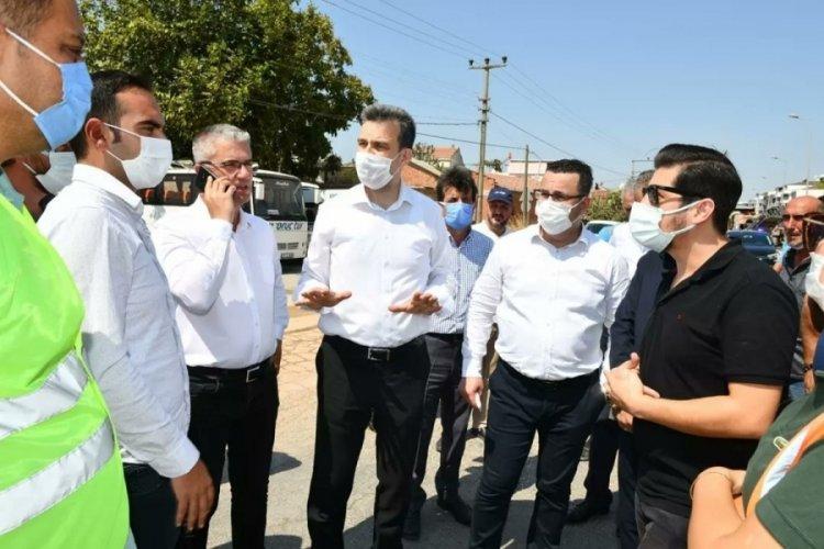 AK Parti Bursa Milletvekili Esgin Mustafakemalpaşa'daki yol yapım çalışmalarını inceledi