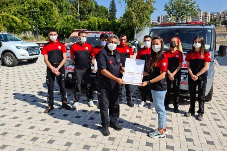 Sel felaketinde görev alan Bursa NAK gönüllülerine teşekkür belgesi