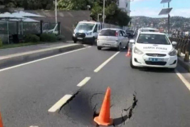 İstanbul'da cadde çöktü, yol trafiğe kapatıldı