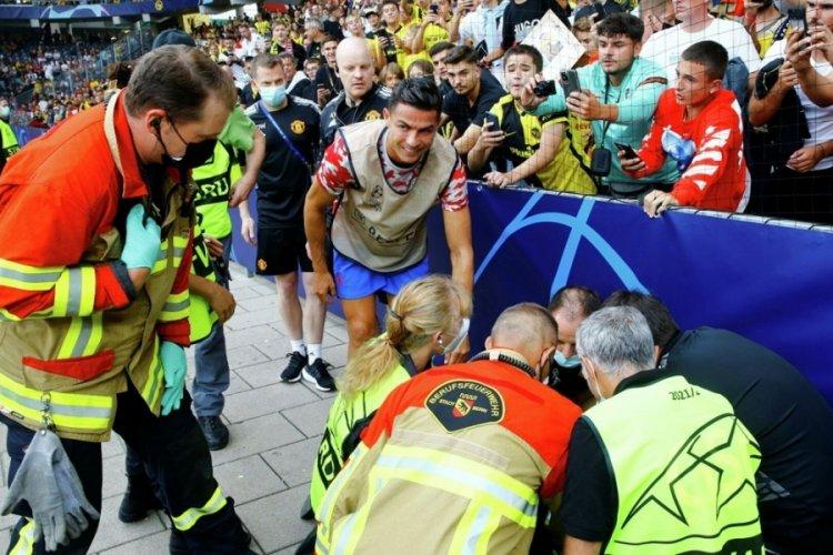 Yıldız oyuncu Cristiano Ronaldo'nun şutu kadın güvenlik görevlisini bayılttı!