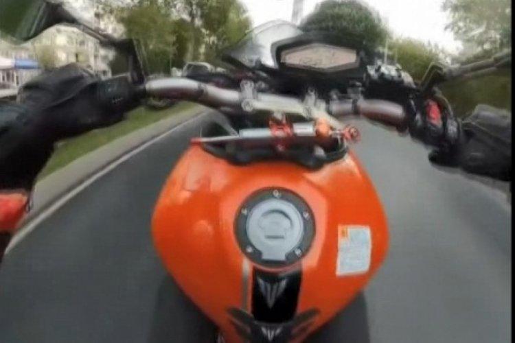 İstanbul Maltepe'de motosikletli maganda tek teker üzerinde ilerledi