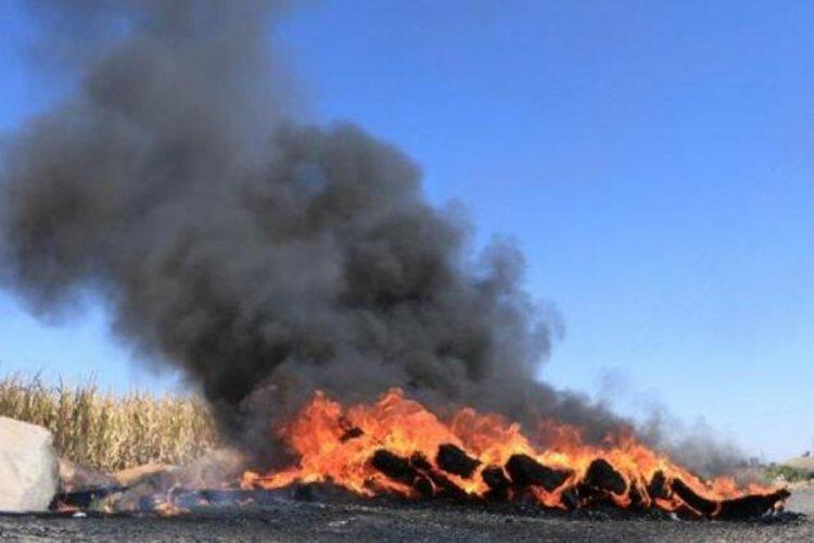 Şanlıurfa'da kaçak elektrik kullanımına işlem yapan ekipleri engellemek için lastik yakıp yol kapattılar