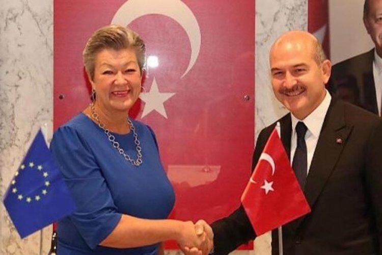 İçişleri Bakanı Soylu, AB Komisyonu İçişleri Komiseri Johansson'ı kabul etti