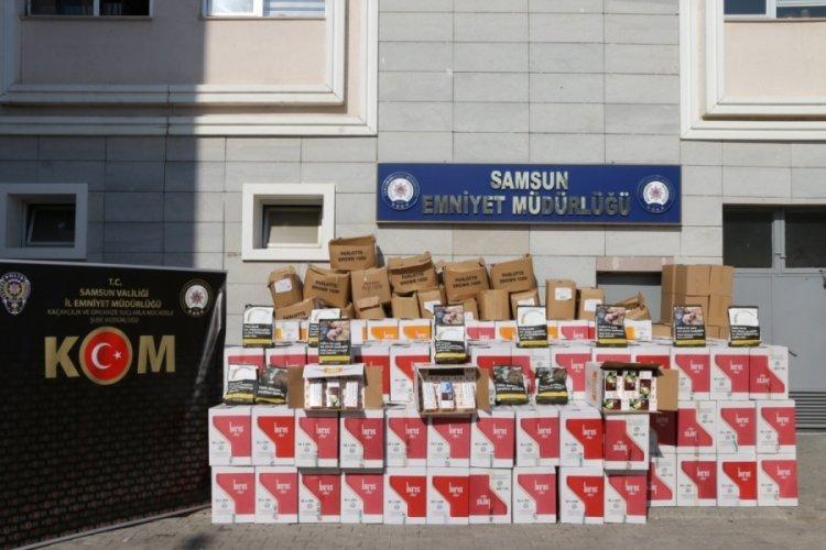Samsun'da 4 milyon 230 bin dal bandrolsüz makaron ele geçirildi