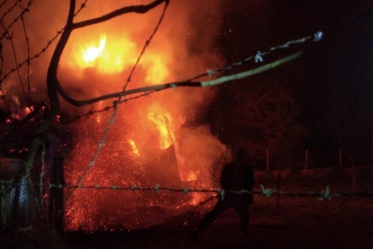 Alevler geceyi aydınlattı: 2 ev, 5 ahır ve 1 kiler kül oldu