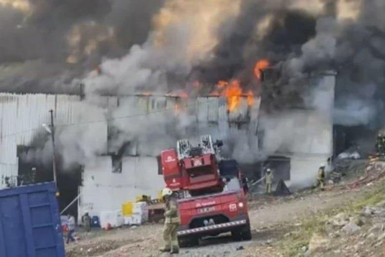 İstanbul'da geri dönüşüm tesisinde yangın!