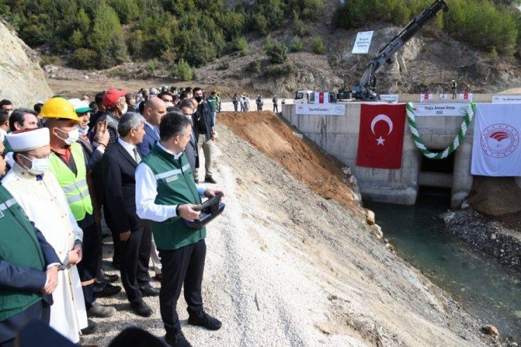 Mersin Pamukluk Barajı'nda su tutma işlemi Bakan Pakdemirli'nin katılımıyla başladı
