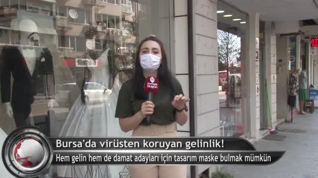 Bursa'da korona virüsten koruyan gelinlik! (ÖZEL HABER)
