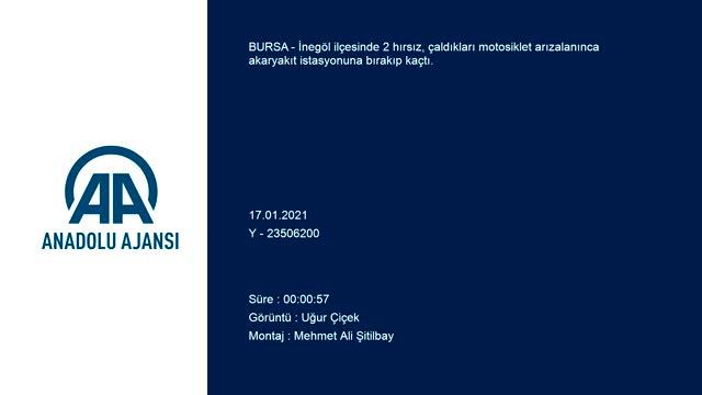 Bursa'da iki hırsız, çaldıkları motosiklet arızalanınca akaryakıt istasyonuna bıraktı