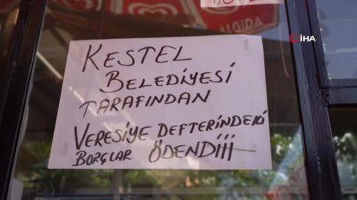 Bursa Kestel'de veresiye defterleri belediye tarafından kapatıldı