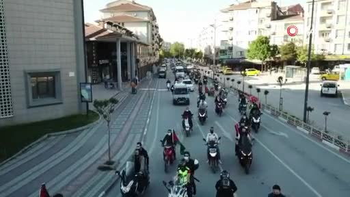 Bursa İnegöl'de Filistin'e destek konvoyu