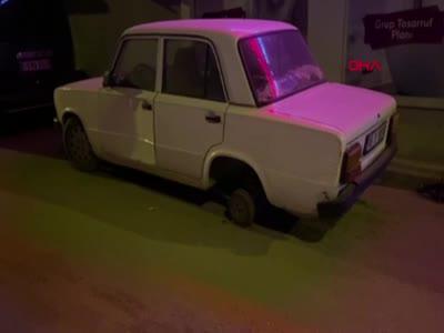 Bursa'da park halindeki aracın lastiğini söküp kendi aracına taktı!