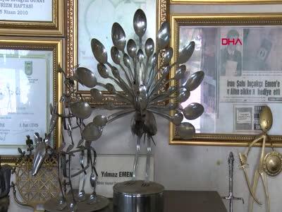 Bursa'da mutfak malzemelerini sanat eserine dönüştürüyor
